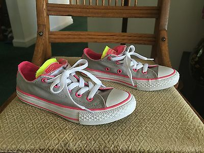 Girl's Converse All Star Chuck Taylor - Gray/pink/white Size 13