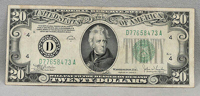 1934-C $20 Federal Reserve Legal Tender Cleveland Green Seal Note! NO RESERVE!