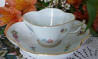 Beautiful Vintage Meissen Demitasse Cup and Saucer Scattered Flowers X Mark