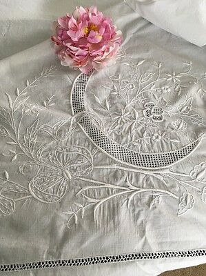 Antique White Embroidered Linen Coverlet