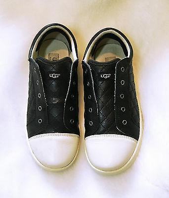 UGG Sneakers Size 5.5 JEMMA Quilted Leather Slip On Shoes Black White