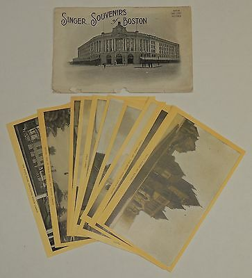 """Antique Set of 10 Singer Sewing Advertising Cards, """"Souvenirs of Boston"""""""