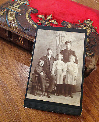Little Boy Down Syndrome 1900's Cabinet Card Family Portrait Rare