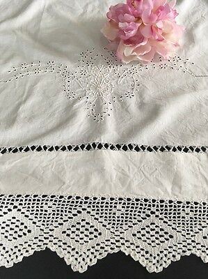 Antique Embroidered Linen Coverlet W/ Crocheted Lace & Eyelet Work