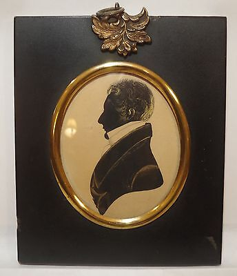 ORIGINAL EARLY 1800s FRAMED SILHOUETTE PORTRAIT ~ GILDED GENTLEMAN DRAWING
