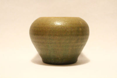 Matte Green Arts & Crafts - Art Pottery - Small Cabinet Vase Or Bowl - Wow!!!
