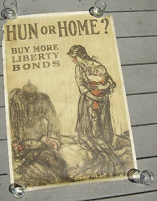 "WWI ""Hun or Home-Buy More Liberty Bonds"" Orig Propaganda Poster-Henry Raleigh"