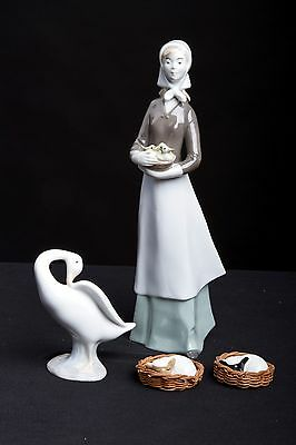 Lot of 4 Porcelain Figurines - Lladro Goose - GCR Girl with Ducklings - Sheep