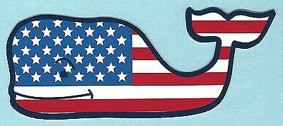 New Authentic Vineyard Vines American Flag Whale Sticker Decal Free Shipping