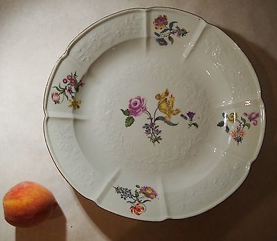 Antique Meissen Charger ~ Large Plate Hand Painted Flowers ~ 19Th Century Bowl