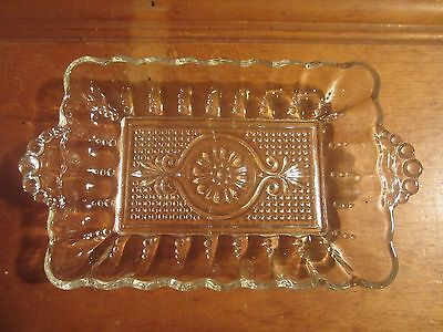 "Pressed Clear Glass Rectangular Trinket Butter Dish Bubble Theme 2 Handles 7""x5"""