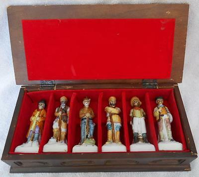 Set of 6 Antique Vintage Porcelain Bisque Figurines in Fitted Wooden Box