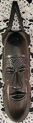 Hand Carved African Wooden Mask Type Wall Hanging Dark Wood Good Details