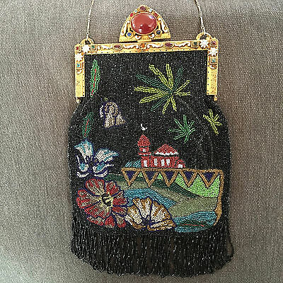 Vintage Exotic Beaded Jeweled Enamel Frame Scenic Purse