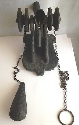 Rare Vintage Outside Door Bell Pull String Wood BaseCast Iron Cowbells Rustic