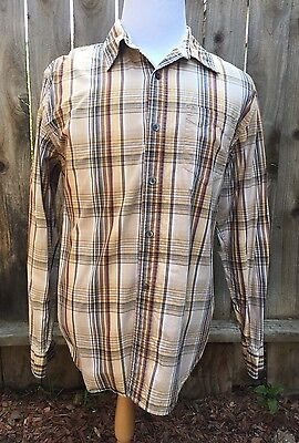 Levis Strauss Mens Shirt L Large Plaid Long Sleeve Cotton Button Up Casual