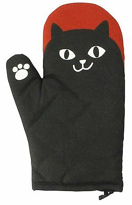 Cute Black Cat Kitty Oven Mitts Mitten Free Size Barbecue Summer Goods