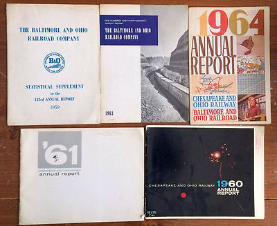 Set of 5 B&O and C&O annual reports for 1959-1964