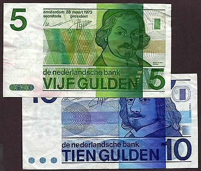 """Netherlands """"Holland"""" (1968-73) Classic 5/10 Gulden {DOUBLE} VF>XF Notes P95/P91"""