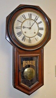 Ansonia 8 Day Chime Schoolhouse Wall Clock Regulator A Working Long Drop+Seconds