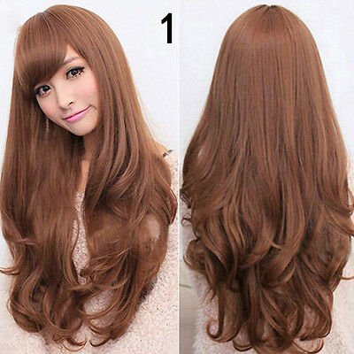 Women Long Curly Wavy Full Wig Heat Resistant Hair Party Lolita # Light Brown