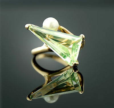 Vtg Estate Solid 14k 6.45g Yellow Gold Pearl & Mint Beryl Ring sz 5.5