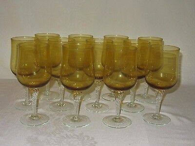 Set of 12 Vintage Water Wine Goblets Glass Amber Yellow w Clear Twisted Stem