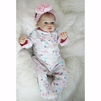 "22"" Realistic Newborn Handmade Reborn Baby Girl Doll Silicone Vinyl Real Looking"