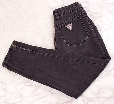 Vintage 90s GUESS denim jeans zipper ankle high waisted black tapered womens 30