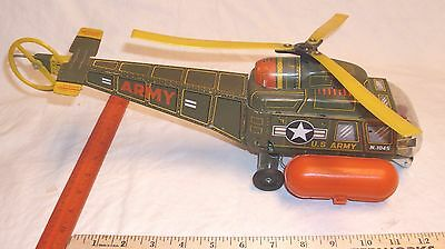 US ARMY N. 1045 BELL HELICOPTER LARGE TIN BATTERY TOY BY K OF JAPAN 1960s WORKS