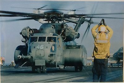 "U.S Navy Real Photo - Military Helicopters On Deck - 18"" x 12"""