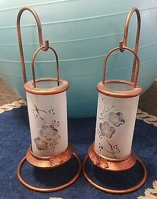 2 Partylite Copper tone Metal Glass Lantern Tealight Holder french country
