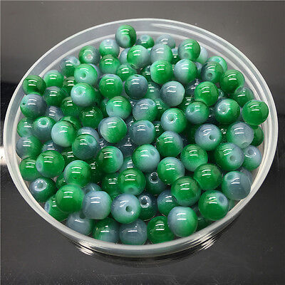 New 8mm 30Pcs Double Colors Glass Round Pearl Loose Beads Jewelry Making #8m14