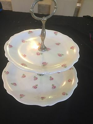 Vintage Royal Winton Grimwades 2 Tier Cake Plate - Pearlescent China In Gd To Vg
