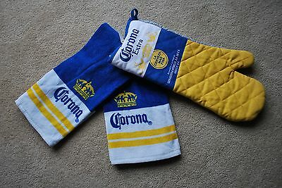 Corona Beer Towels And Oven Mit Attached Gift Set New