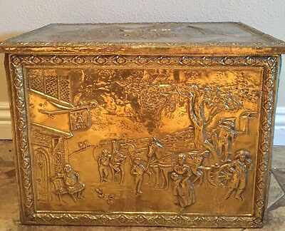 """Antique English Embossed Brass Wood Chest Trunk Large 20"""" Anne Hathaway Cottage"""