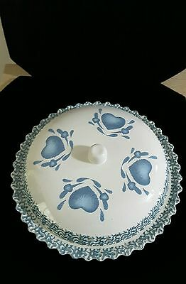 Blue and White Stoneware Stencil and Sponge Heart Design Covered Pie Plate