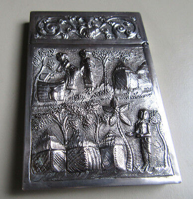 Vintage Indian Solid Silver Business Card Case With Native Scene