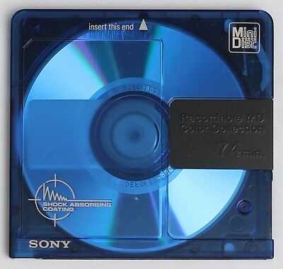 Genuine SONY 'Color Collection' Translucent Blue Recordable MiniDisc 74 Minutes