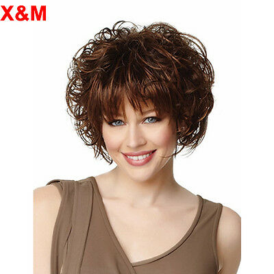 Short Curly Wavy  Dark Brown  Wigs With bang African American Cheap full wig