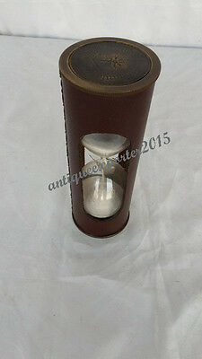 Beautiful Brown LEATHER Finish Vintage look white Sand Timer Hourglass Nautical