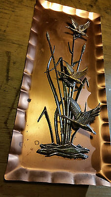 Vintage retro 1960s copper wall plaque birds Made Germany Swallows hanging art