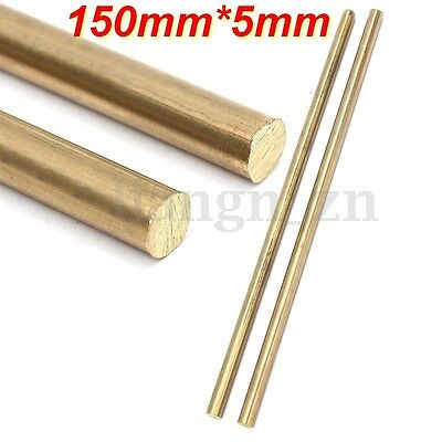 2PCS Brass Rod Bar Hardware Solid Round Blank Scales Blade Handle 150mm x 5mm