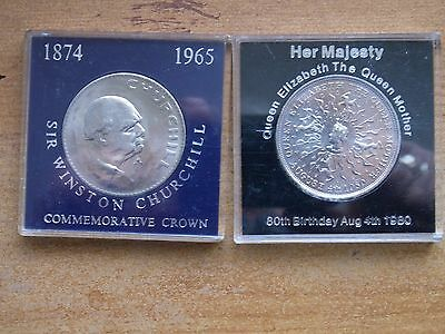 British Crown coins.Churchill.Queen Mother