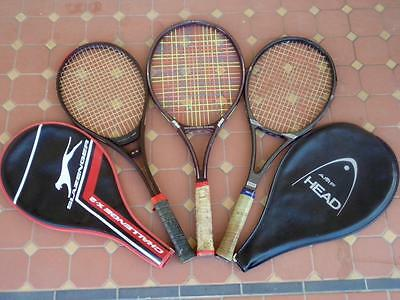 Set of 3 Great Condition Tennis Racquets Slazenger/Head/Prince w/ 2 x Covers