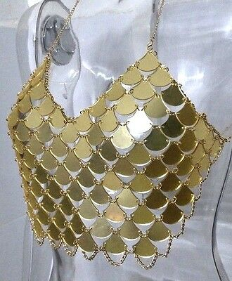 Boho Festival Marbs Discs Mirror Crop Top Body Chain Gold Pink - Uk Seller