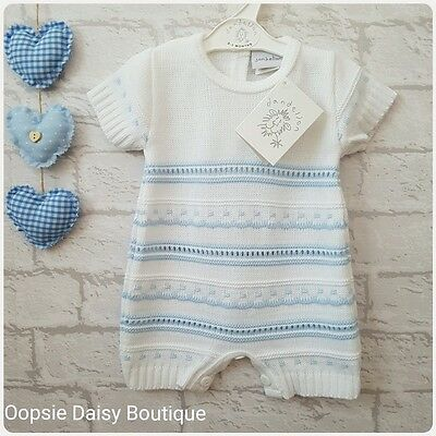Baby Boys Gorgeous White & Blue Striped knitted Spanish Romper Suit