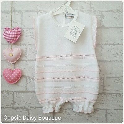 Baby Girls Gorgeous White & Pink Striped knitted Spanish Style Romper Suit