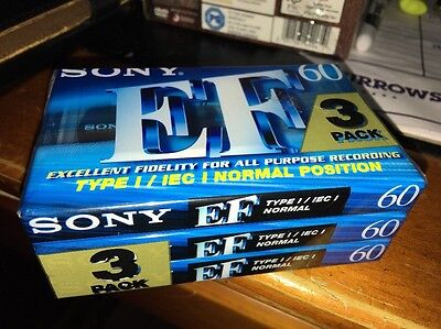 SONY EF 60 Blank Cassette Tape 3 Pack New & Sealed