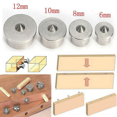 4x Round Wood Tenon Dowel Drill Centre Point Pin Clamp Center Tool 6/8/10/12mm